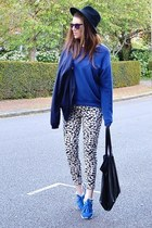 blue cotton Topshop sweatshirt - navy silk Primark jacket