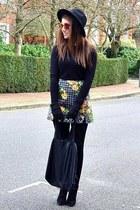 black suede Topshop boots - black fedora H&M hat - black oversized Topshop bag