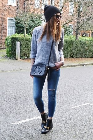 black leather Gucci bag - turquoise blue skinny Topshop jeans