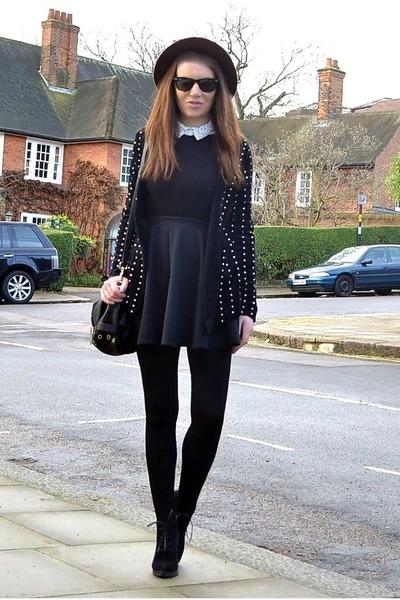black studded Zara cardigan - black suede Topshop boots