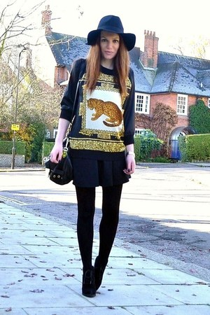 gold leopard Zara top - black suede Topshop boots - black fedora H&amp;M hat