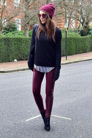 maroon beanie Primark hat - black suede Topshop boots