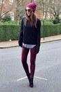 Black-suede-topshop-boots-maroon-beanie-primark-hat