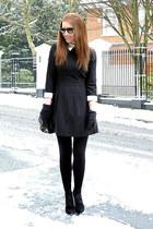 black suede Topshop boots - black mini Primark dress