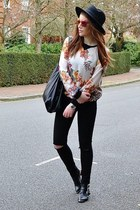 ivory floral Zara top - black leather Offfice boots - black skinny Topshop jeans