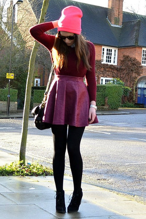 maroon mini Primark skirt - black suede Topshop boots