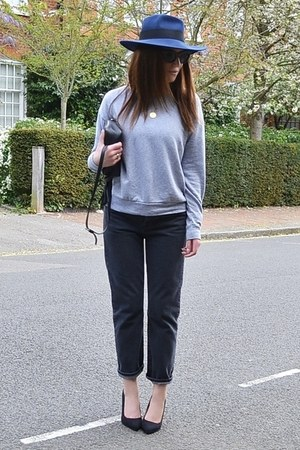 dark gray girlfriend Topshop jeans - navy fedora asos hat
