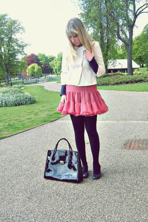 pink Topshop skirt - black new look shoes - beige Atmosphere jacket