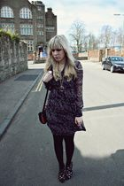 purple westrags dress - black Primark shoes - gold Primark accessories - black v