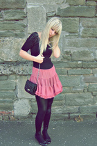 pink Topshop skirt - black wet look new look leggings