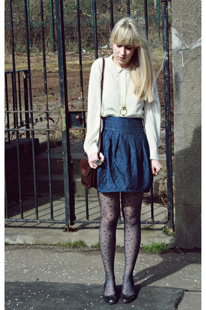 beige vintage blouse - blue Primark skirt - brown vintage purse - gold Primark a