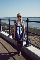brown Primark bag - brown modcloth shoes - navy chicstar dress