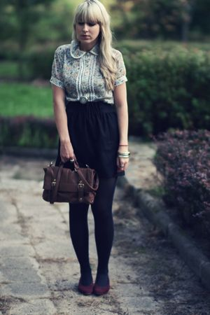 brown Primark bag - thrifted shoes - black Orsay skirt - floral thrifted blouse