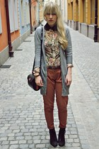 vintage bag - Primark cardigan - camaieu blouse - new look pants