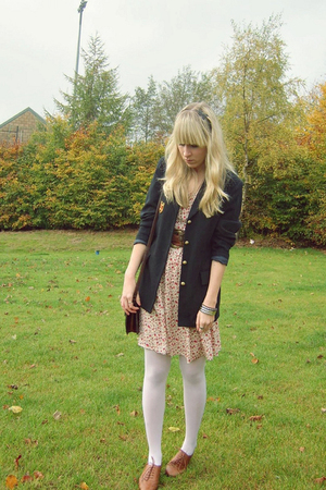 Marks and Spencers blazer - vintage dress - new look shoes - vintage purse - Cla