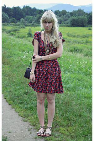 red thrifted dress - black vintage