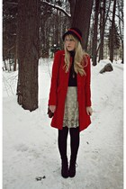 red Primark coat - off white modcloth skirt - black VeeChay hat - black fleqpl b