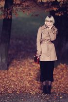 black H&M dress - black fleqpl shoes - beige H&M coat - brown vintage
