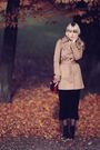 Beige-h-m-coat-black-h-m-dress-black-fleqpl-shoes-brown-vintage-bag