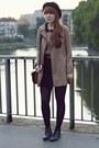 Tan-h-m-coat-black-h-m-skirt