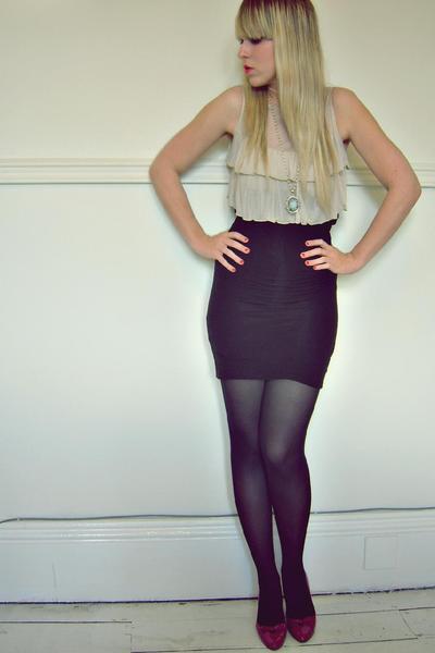 black new look skirt - purple new look shoes - beige Dorothy Perkins top