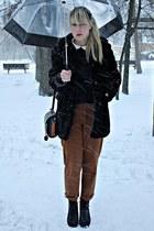 black Marks & Spencer coat - burnt orange thrifted pants - black fleqpl shoes