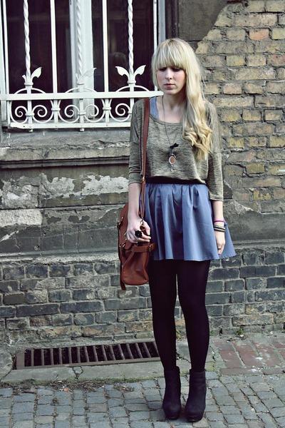 brown wholesale-dressnet bag - dark khaki H&M top - light blue westrags skirt -