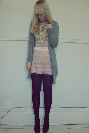 pink H&M skirt - black Primark shoes - silver Primark cardigan