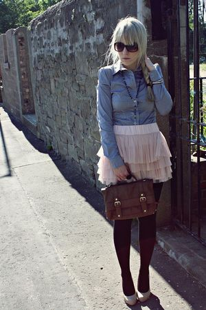 pink H&M skirt - blue butykcouk shirt - beige Primark shoes - brown Primark purs