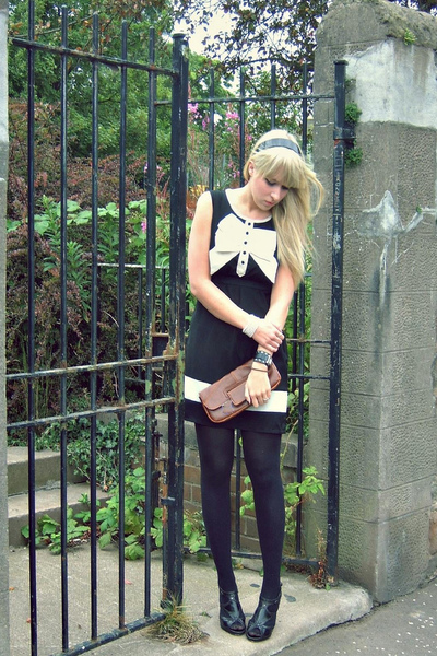 black Primark dress - black Peacocks shoes - brown clutch Primark accessories