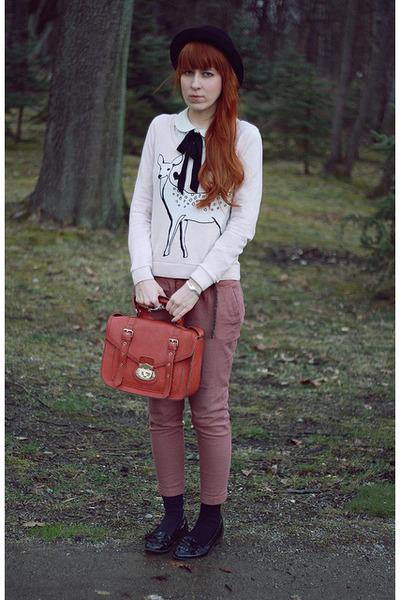 light pink H&M jumper - salmon new look pants