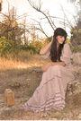 Beige-zara-dress-brown-vintage-from-etsy-accessories-gold-springfield-woman-