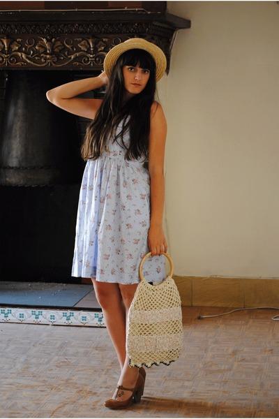 blue Oysho dress - beige Oysho hat - beige vintage accessories - brown Stradivar