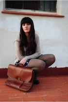 beige H&M cardigan - white Oysho t-shirt - blue BLANCO shorts - brown vintage ac