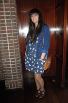 blue H&M blazer - blue Zara dress - brown Mulberry accessories - brown Bakers ac