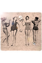beige Vintage costume swimwear