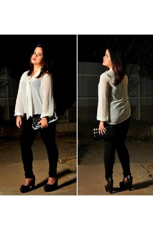 H&M blouse - Forever21 bag - Forever21 pumps