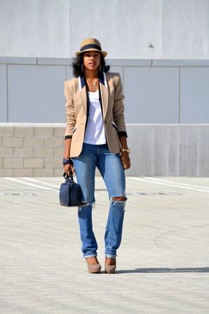camel Kasper blazer - jeans - tan fedora david & young hat - heels