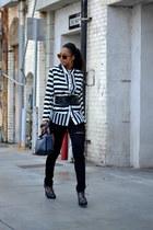 white monteau blazer - black H&M top