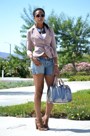 silver Michael Kors bag - blue denim 7 for all mankind shorts