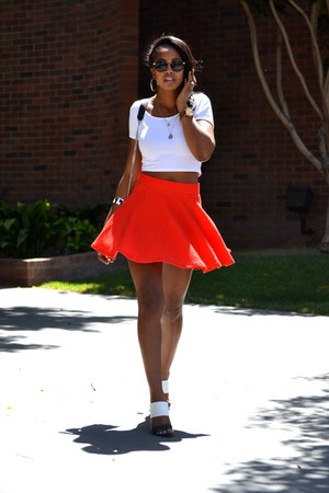 white crop top H&M top - carrot orange H&M skirt - black