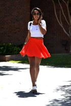 white crop top H&M top - carrot orange H&M skirt - black