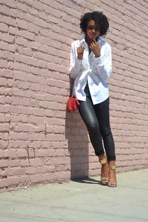 white Ralph Lauren blouse - white Cherokee blouse - black H&M jeans