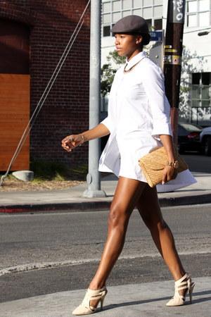 white Sheinside top - heather gray H&M skirt