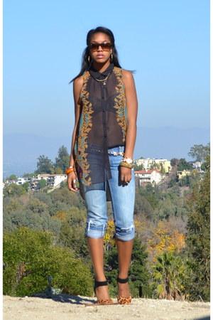 dark gray H&M top - light blue hollister jeans - Steve Madden heels