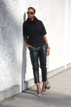black Tobi sweater - black faux leather Piper Project pants - white Guess heels