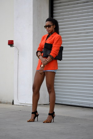 carrot orange DKNY blazer - light blue Reiss shorts - tawny Steve Madden heels