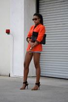 carrot orange DKNY blazer - light blue Reiss shorts - tawny Steve Madden heels