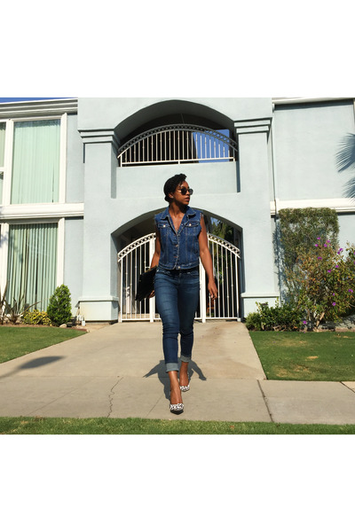 navy AG Jeans jeans - black zeroUV sunglasses - white cow print Guess heels