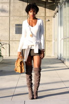 heather gray Bakers boots - olive green H&M skirt - off white Kenar t-shirt